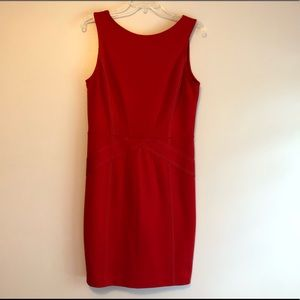 Ted Baker Red Fitted Sheath Dress Sleeveless Sz4